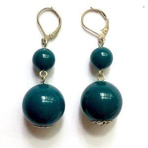 Teal beaded dangle earrings